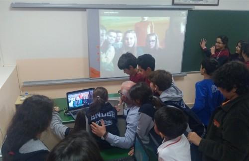 POLONYA'DAKİ PROJE ORTAĞI OKULUMUZLA VİDEO CHAT